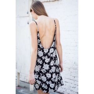 BRANDY MELVILLE black floral slip dress